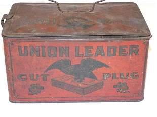 UNION LEADER CUT PLUG TIN TOBACCO ADVERTISING BOX