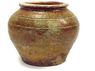 CHINESE HAN DYNASTY GLAZED POTTERY JAR