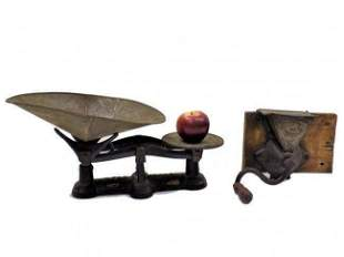 19TH CENTURY COUNTRY STORE SCALE & COFFEE GRINDER