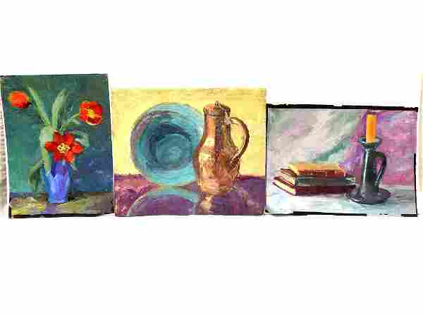 VINTAGE GROUP OF 3 STILL LIFE PAINTINGS