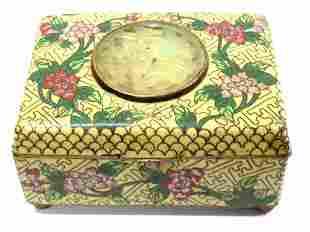 CHINESE CLOSONNE BOX WITH JADE MEDALLION