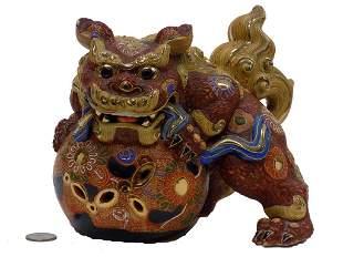 CHINESE FOO LION SATSUMA STATUE