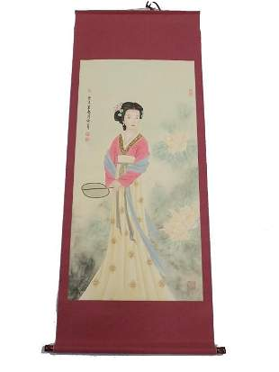 CHINESE MAIDEN WATERCOLOR SIGNED SCROLL