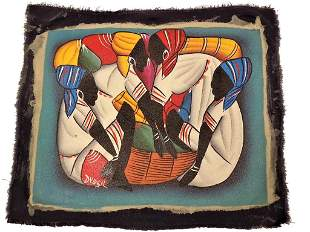 HAITIAN FIGURES PAINTING - SIGNED
