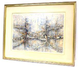 MODZELEVICH - ABSTRACT CITY SIGNED LITHOGRAPH