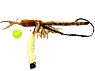 AMERICAN INDIAN ANTLER PEACE PIPE