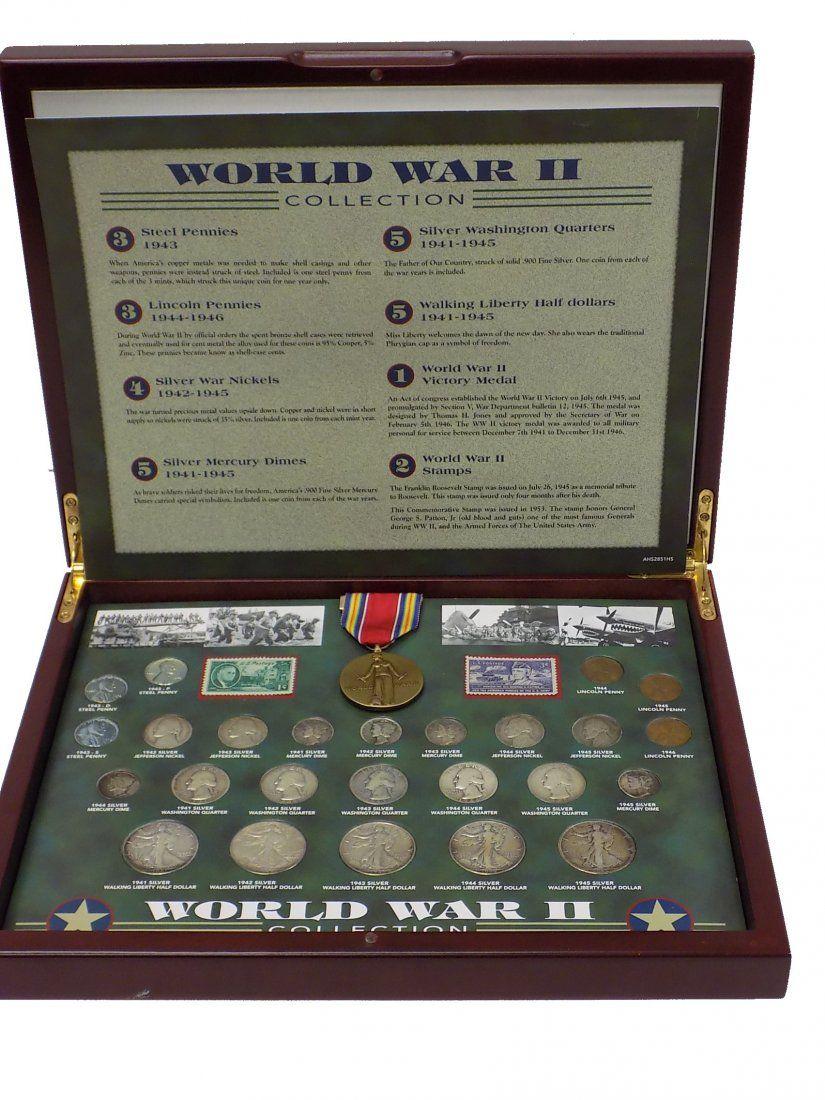 WORLD WAR II UNITED STATES STAMPS COINS MEDAL SET