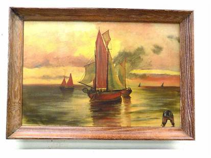 FRED KULLER - TWILIGHT SAILBOATS PAINTING