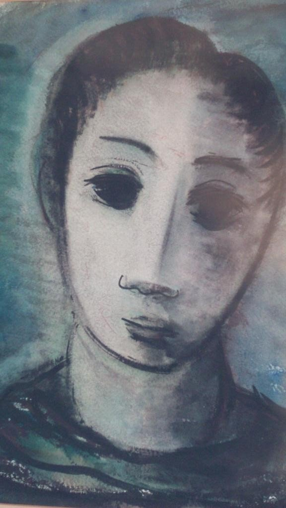 15: ANTOINETTE TONI GREEN - BLUE WOMAN PAINTING