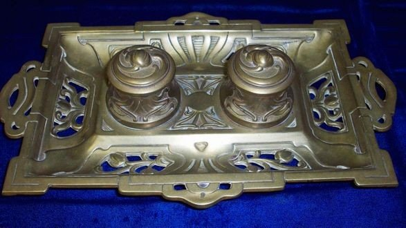 3: ART NOUVEAU FRENCH BRONZE INKWELL