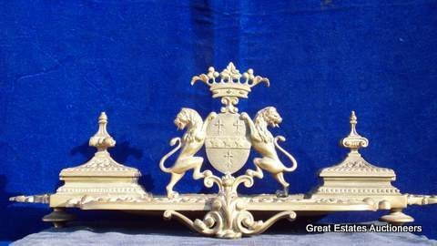 5: FRENCH GILT LIONS BRONZE DOUBLE INKWELL