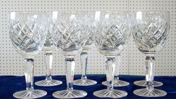 6: WATERFORD CRYSTAL GLASS LARGE LIZMARK GOBLET SET