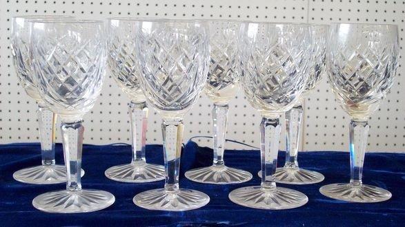 11: WATERFORD CRYSTAL MEDIUM GLASS LIZMARK GOBLET SET