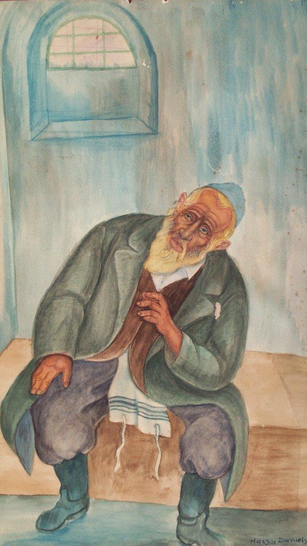 25B: HARRY DANIELS - JEWISH RABBI WATERCOLOR PAINTING