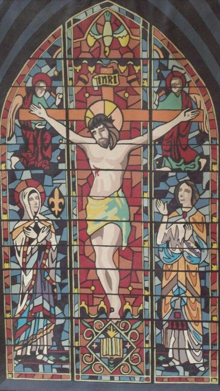 22X: JESUS CRUSIFIXION CATHEDRAL PAINTING