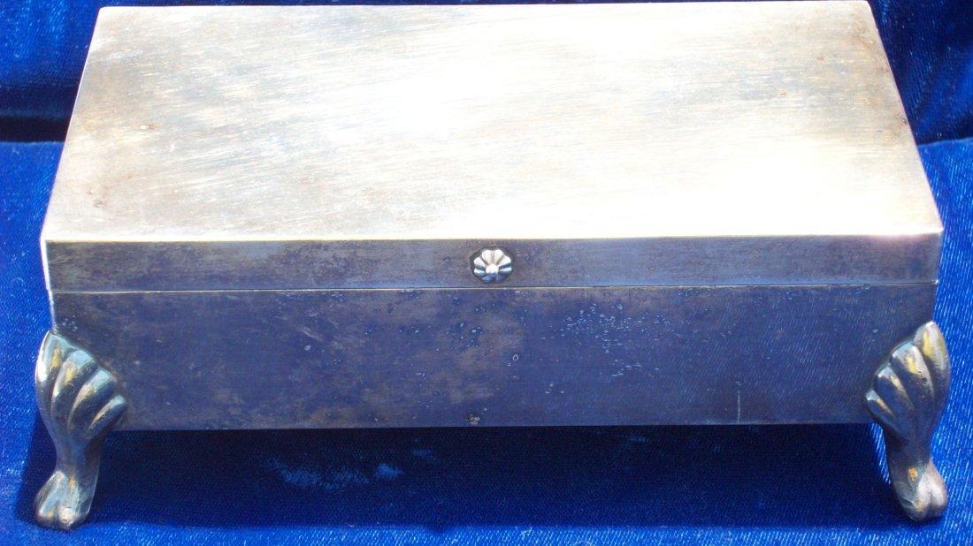 8X: CABRIOLE LEGS FOOTED SILVERPLATE LIDDED DRESSER BOX