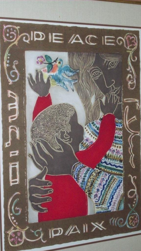 716: PEACE MOTHER & CHILD ART LITHOGRAPH