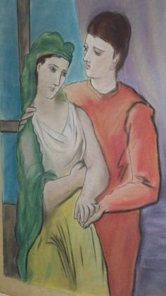 717: AFTER PICASSO LOVERS MAN & WOMAN PASTEL