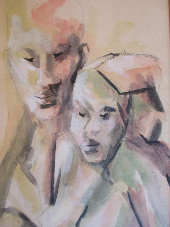 DIEUDONNE CEDOR - FATHER & CHILD WATERCOLOR