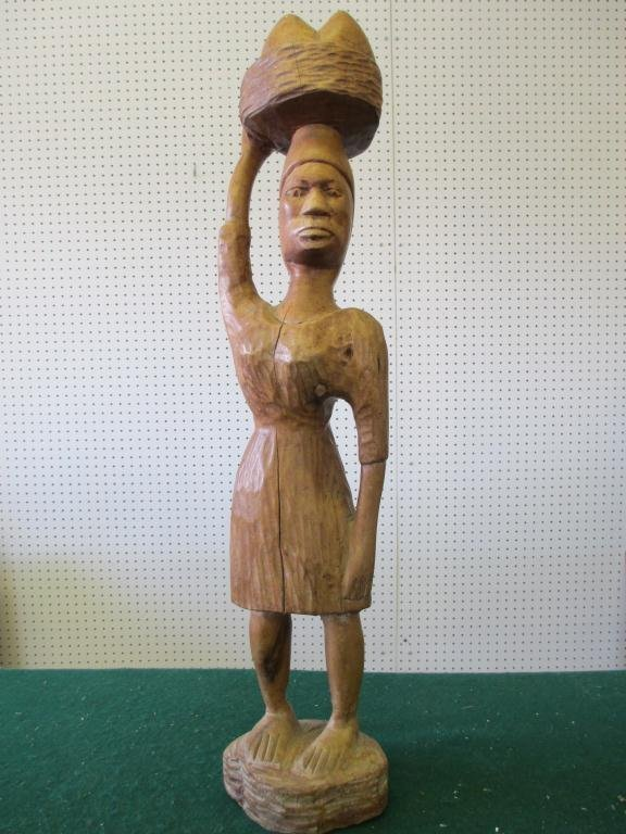 CARVED AFRICAN AMERICAN FIGURAL STATUE