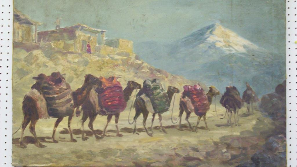 PERSIAN DESERT WALKING ARABS PAINTING