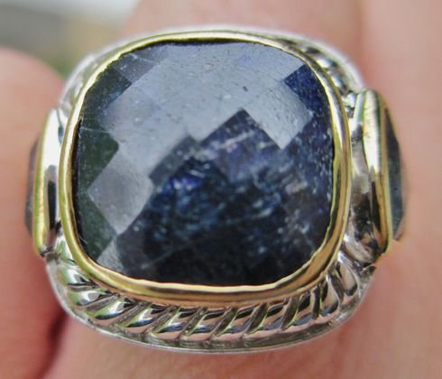 GIANT BLUE SAPPHIRE GOLD & SILVER RING