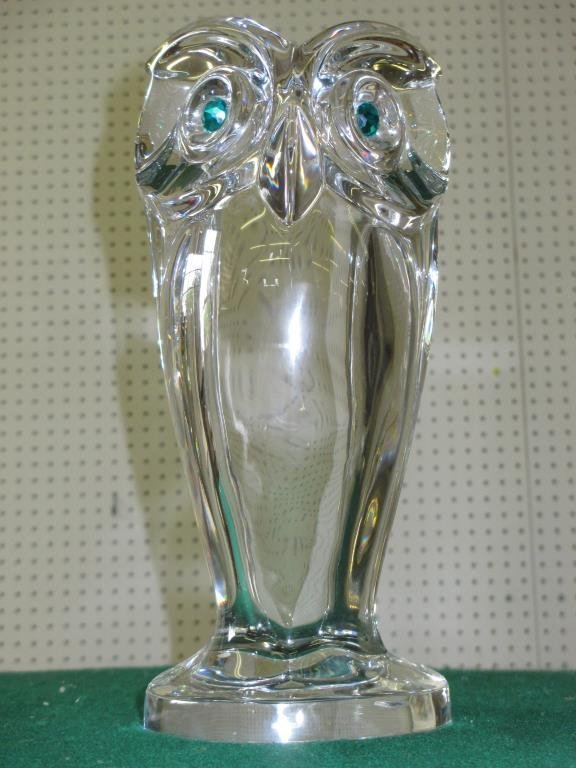 SEVRES CRYSTAL GLASS OWL STATUE