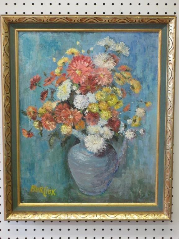 DAVID BURLIUK - FLOWERS IN A VASE PAINTING