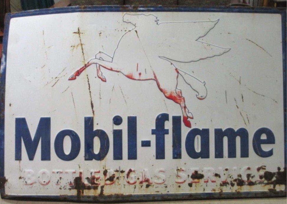 MOBIL FLAME BOTTLED GAS SERVICE SIGN