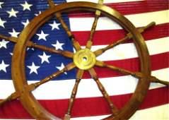 OAK  BRASS NAUTICAL SHIPS WHEEL