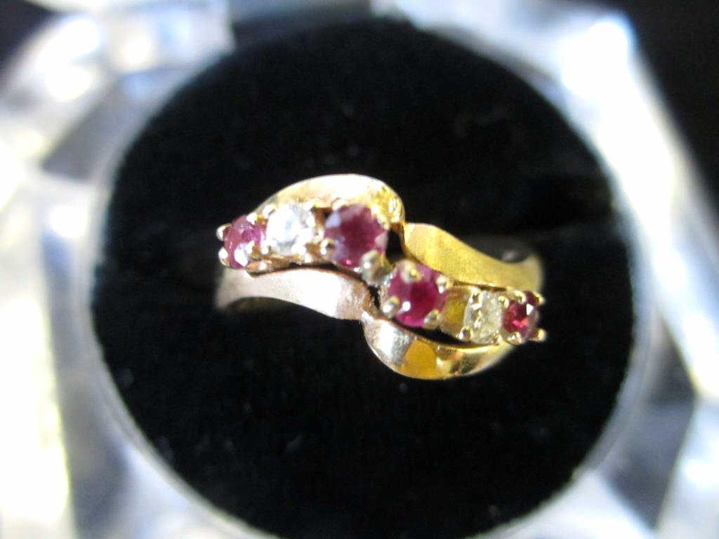 18K YELLOW GOLD DIAMOND & RUBY RING