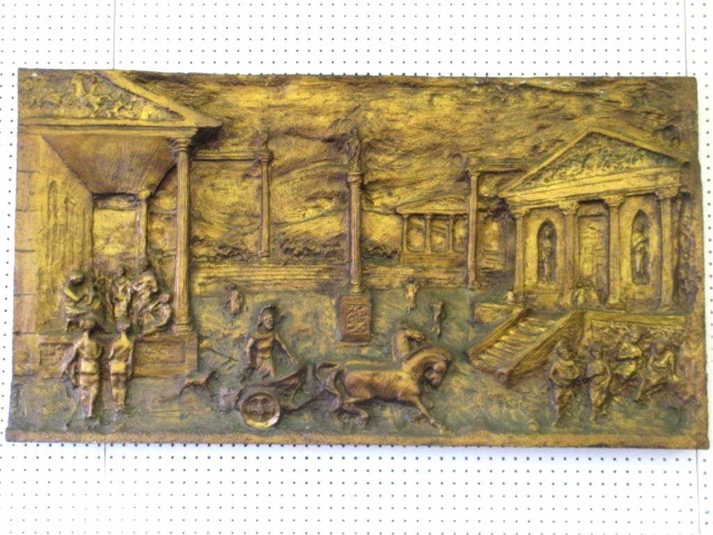 ANCIENT ROMAN BRONZE TONE WALL SCULPTURE