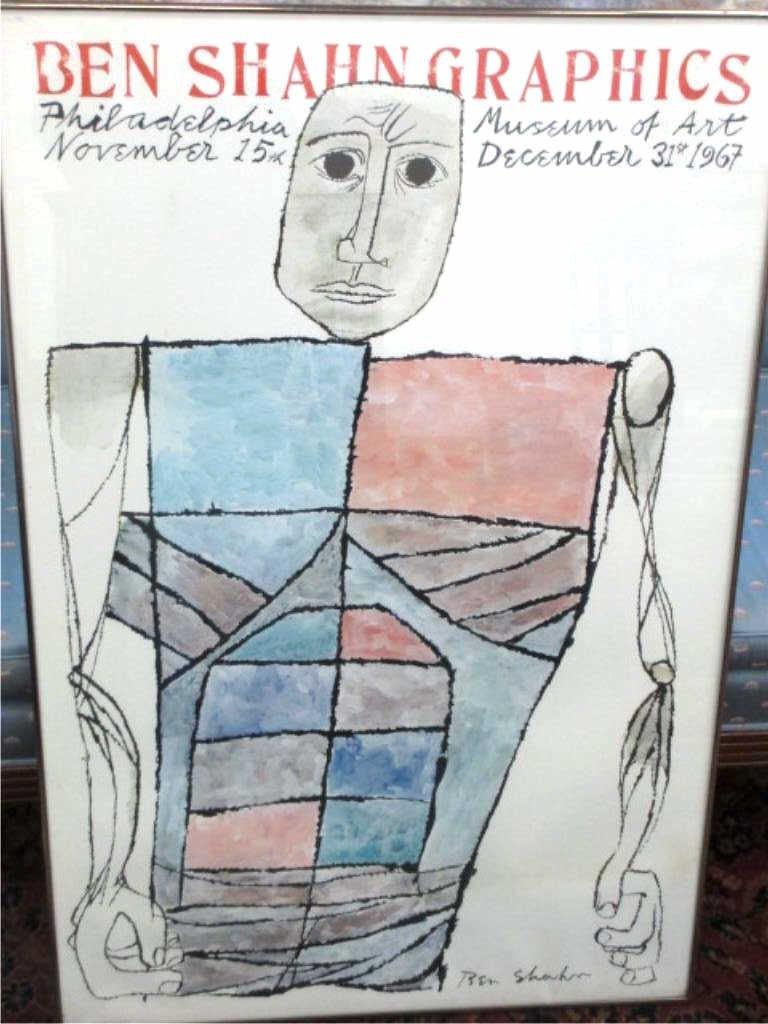 BEN SHAHN HUGE 1967 ART MUSEUM LITHOGRAPH POSTER