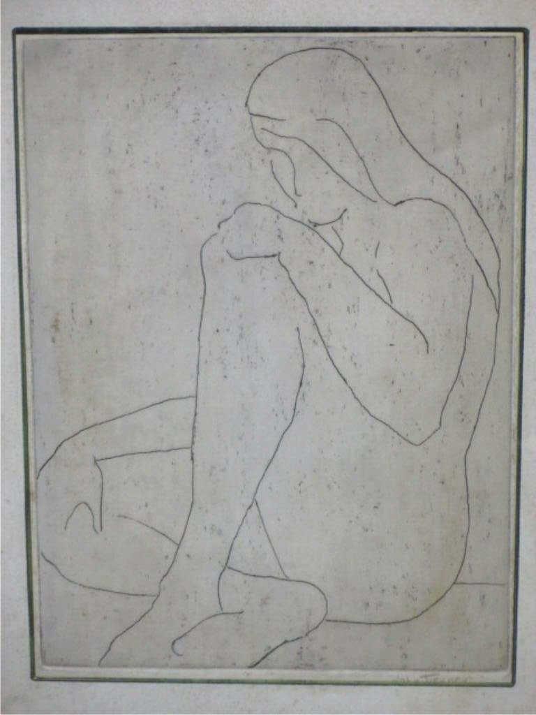 JOHN TIERNEY - MODERNIST NUDE FIGURE ETCHING