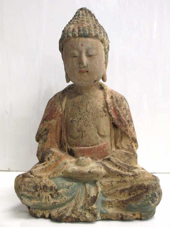 CHINESE MING DYNASTY WOODEN BUDDHA FIGURE