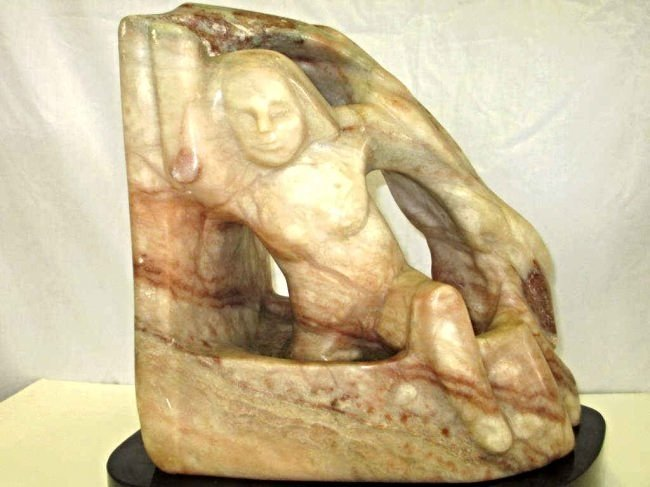 HOLDORF - LADY OF THE BATH LARGE ONYX SCULPTURE