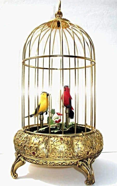 GERMAN DOUBLE SINGING BIRDS AUTOMATON BIRDCAGE