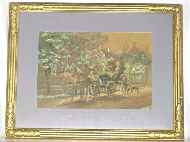 EL HENRY - CARRIAGE RIDE HAND COLORED LITHOGRAPH