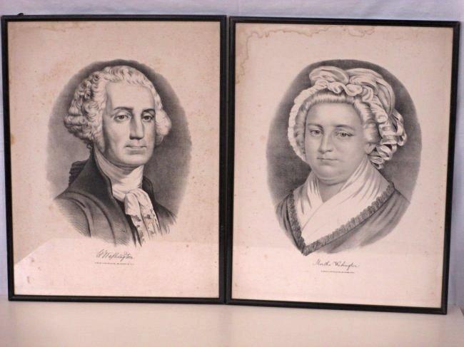 CURRIER & IVES GEORGE & MARTHA WASHINGTON  PRINTS