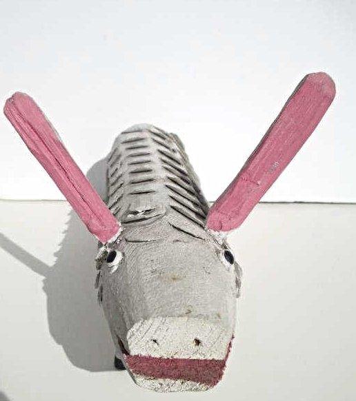 PETER RAFUSE - FOLK ART WOOD RABBIT - 2