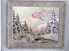 LASZLO NEOGRADY - WINTER MOUNTAIN FOREST PAINTING