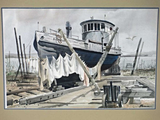 OGDEN M. PLEISSNER - HIGH & DRY HARBOR WATERCOLOR - 2
