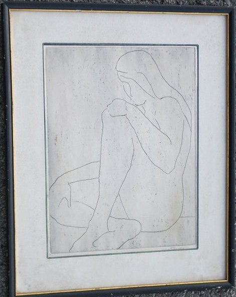 JOHN TIERNEY - MODERNIST NUDE LADY ETCHING