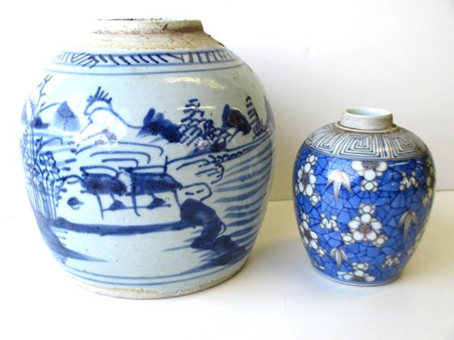 2 CHINESE SIGNED DECORATED GINGER JARS
