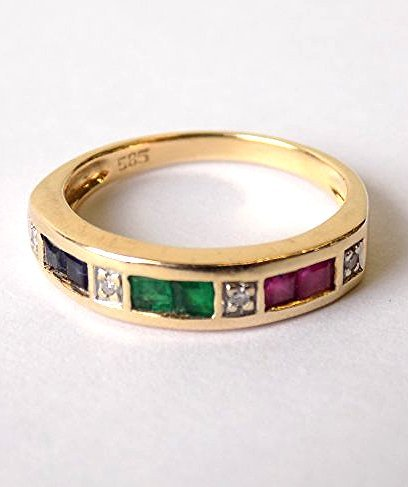 14K YELLOW GOLD SAPPHIRE EMERALD RUBY DIAMOND RING