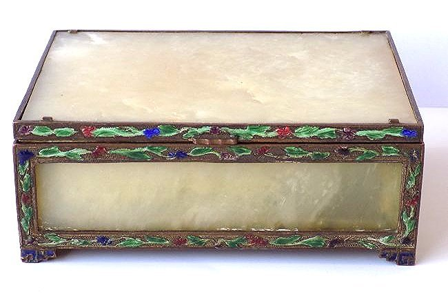 CHINESE QING CHING NEPHRITE JADE CHAMPLEVE LIDDED BOX
