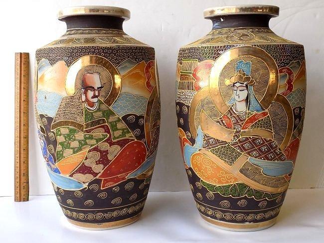 LARGE PAIR MYTHOLOGICAL JAPANESE SATSUMA VASES