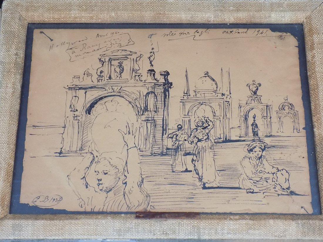 EUGENE BERMAN - HOLLYWOOD PEN & INK DRAWING