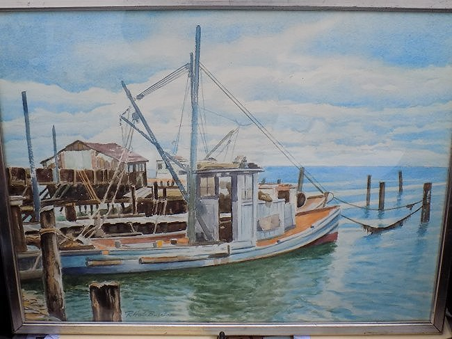 BURRISS - MAINE BOATS AT HARBOR WATERCOLOR PAINTING