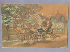 EL HENRY  CARRIAGE RIDE HAND COLORED LITHOGRAPH